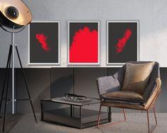 #Red Splash Wall Art, #Abstract Splash Art, Splash Wall Decor, Red Minimalist Print set of 3, A4 (210x297 mm), $5.00, http://etsy.me/2y7bGdN
