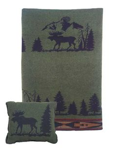 Moose Pillow and Throw Set -- Great for Decorating - Great for Gift Giving  - Buy at Snugglebug Pillows and Throws www.snugglebugpillowsandthrows.com