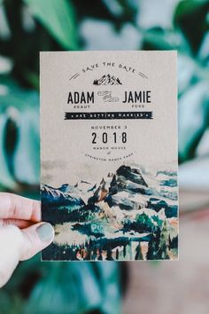 Rocky Mountain Watercolor Save The Date - Rlawrence - Re-Wilding Mountain Wedding Invitations, Wedding Invitation Kits, Creative Wedding Invitations, Save The Date Invitations, Save The Date Postcards, Wedding Stationary, Party Invitations, Wedding Paper, Wedding Cards