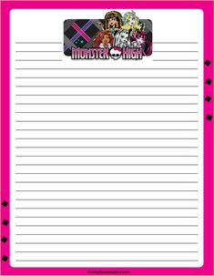 Worksheet Monster High Worksheets activities paper and monster high on pinterest mh stationery free printable ideas from family
