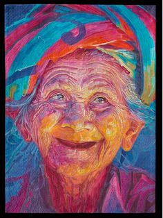 An Old Woman with Joyous Face by Marina Landi of Sao Pula, Brazil