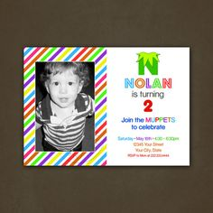 Muppets Birthday Party Invitations Printable File, Digital