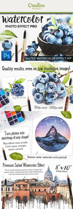 Salted Watercolor Photo Effect Pro is an addon for Photoshop and CC that allows you to quickly apply a realistic watercolor effect to photos, text, Salt Watercolor, Watercolor Circles, Watercolor Effects, Abstract Watercolor, Photoshop Design, Adobe Photoshop, Circle Painting, Paint Types, Montages