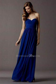 Cool long strapless blue dress 2018