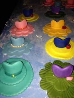 Princess cupcakes I made for a Disney princess tea party.  Cinderella, Snow White, Aurora, Bell, Jasmine and Ariel.