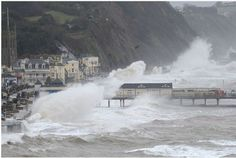 Fingers crossed the pier in my home town holds! Poor Teignmouth and Dawlish, disappearing into the sea Devon Life, Devon England, South Devon, Devon And Cornwall, Stormy Sea, Mackinac Island, Best Cities, Great Britain, Countryside
