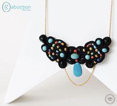 Collier plastron soutache brodée de perles multicolores : Collier par cabochon-chic