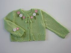 Hand knitted Baby Girl Toddler by DesignsByValentina on Etsy Baby Knitting Patterns, Knitting For Kids, Hand Knitting, Cardigan Bebe, Baby Cardigan, Knit Cardigan, Baby Girl Cardigans, Baby Sweaters, Pull Bebe