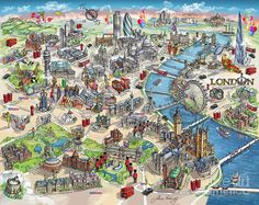 london map painting illustrated map of london by maria rabinky