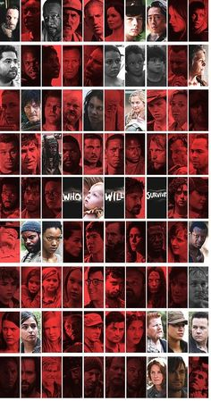 What Characters Have, Haven't Or Maybe Have Survived The Walking Dead So Far // RED = Dead // GREY = Maybe Dead, Maybe Alive // COLOR = Alive ... For Now ...