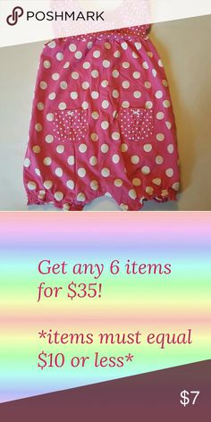 Carter's Girls polka dot pink romper Super cute with lots of life left! Carter's One Pieces