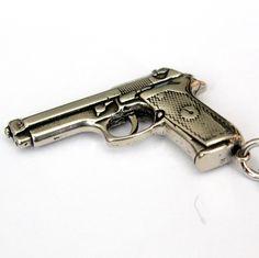 beretta automatic pistol hand gun necklace-moon raven designs, Etsy.  bang bang :} so I pretty much NEED this!!! beretta 92f
