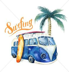 See a rich collection of Vintage images, photos or vectors for any project. Explore quality Vintage pictures, illustrations from top photographers. Watercolor Ocean, Watercolor Trees, Watercolor Cards, Watercolor Painting, Hawaiian Party Decorations, Cute Canvas, Beach Design, Surf Design, Camper Renovation