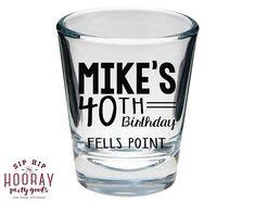 Birthday Shot Glasses 40th Birthday 30th Birthday 50th Birthday Printed Shot Glass Custom Shot Glass Personalized Birthday Gifts 1866 by SipHipHooray