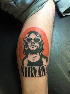 Cool Nirvana tattoo my friend got today Kurt Tattoo, Kurt Cobain Tattoo, Kritzelei Tattoo, Nirvana Tattoo, Grunge Tattoo, Dream Tattoos, Love Tattoos, Body Art Tattoos, Tattoo Ideas
