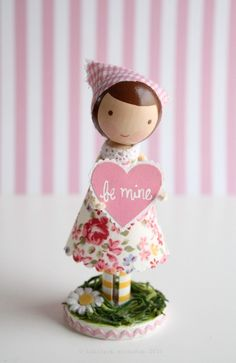 to: you  happy valentines day  from: lolli    lolli stands approximately 4.5 tall. her dress, handmade valentine, & stand are not removable. sold...