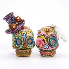 Mexican Dia De Los Muerto Skull Lover Wedding Cake Topper Code 00109 | sweetiecaketopper - Wedding on ArtFire