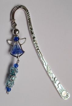 Blue Angel Stars & Moon Bookmark - Silver Alloy Bookmark - Size 13.5cm length - Ideal Gift for A Girl by NomvulaCrafts on Etsy