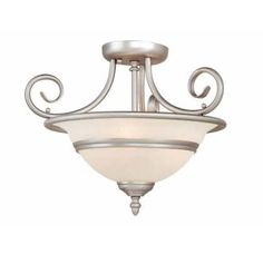 View the Vaxcel Lighting CC11816 Da Vinci 3 Light Semi-Flush Indoor Ceiling Fixture with Frosted Glass Shade - 16 Inches Wide at Build.com.