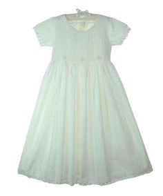NEW Fantaisie White Cotton Smocked Dress with Embroidery and Crocheted Trim $90.00 #FirstCommunionDress