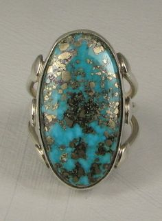 Vntg Navajo RUTH ANN BEGAY Oval Morenci Turquoise Ring