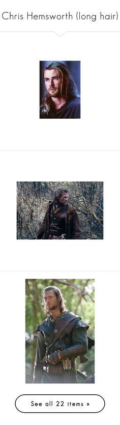 """Chris Hemsworth (long hair)"" by imawkwardhey ❤ liked on Polyvore featuring thor, marvel, people, snow white, movies, snow white and the huntsman, icons, icon photos, chris hemsworth and avengers"