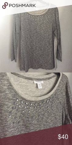 Gray maternity sweater Super cute and comfy gray maternity sweater with rhinestone detail around the neck. NWOT-never worn! Perfect over leggings! Motherhood Maternity Sweaters