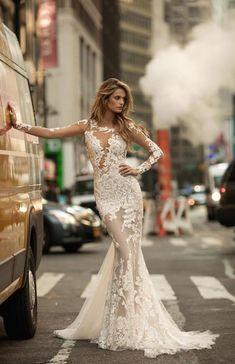 aeb88da20be7 Berta 2019 Gorgeous Mermaid Wedding Dresses Sexy Sheer Long Sleeves Full  Lace Appliqued Bridal Dress See Through Backless Bridal Gowns Red Mermaid  Wedding ...