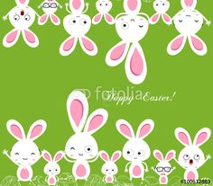 Vector: happy easter rabbit and eggs background
