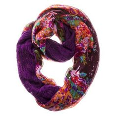 Mossimo Supply Co. Floral Woven Reversible Knit Infinity Loop Scarf - Purple