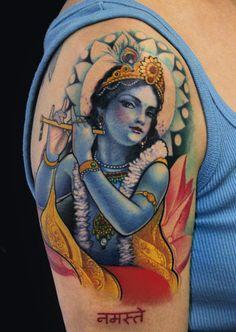 Krishna Tattoo by Jeff Gogue Buddhist Symbol Tattoos, Hindu Tattoos, Sanskrit Tattoo, Buddha Tattoos, Krishna Tattoo, Krishna Art, Lord Krishna, Shiva, Yoga Tattoos