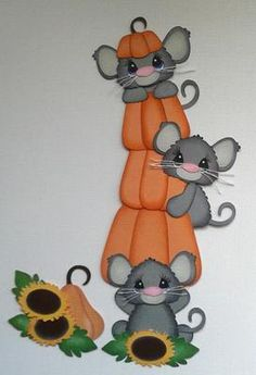 Harvest Pumpkin Mice Set of 3 Mice Paper Piecings by My Tear Bears | eBay