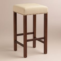 Linen Greyson Backless Barstool, Set of 2 | World Market, $219.98