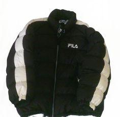 ab83809319b Vintage 90s Fila Hip Hop Rap Style Goose Down Puffer jacket Color Block  Navy Black Beige Size L