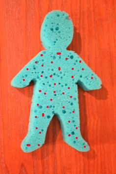 Naaman  Sponge person-Mardel's craft section  Red or white Tempera paint or other water based paint-NOT acrylic  Paint brush  Tub of dirty water-Jordan River was muddy  Paint leprosy dots all over the sponge Naaman-very soon before you will be using it.  You don't want it to dry too much.)  When the story indicates, dip Naaman in the water.  As you dip, squeeze the sponge so the paint begins to wash off.  By the time he has dipped (& you have squeezed it) 7 times, he should be clean.