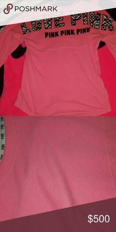 Victorias secret pink rare Aztec xs crew Small stain on the bottom of sleeve. Rarely noticeable as can tell. Think it's just a pen mark. Some minor piling, letters are all intact no cracking that I can see. Size xs. Htf Aztec PINK Victoria's Secret Tops