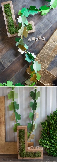 Today's St Patrick's Day crafts continues with our simple DIY Paper Shamrock Garland. St Paddys Day, St Patricks Day, St Pattys, Paper Flower Patterns, Paper Flowers, Flower Head Wreaths, Paper Party Decorations, Holiday Fun, Holiday Decor