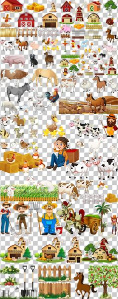 Клипарт для Фотошопа - Ферма, домашние животные на прозрачном фоне