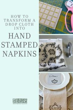 Check out this step by step tutorial on how to make beautiful hand-stamped cloth napkins from a drop cloth using IOD Decor Stamps. Dress up your dinner table with this easy DIY home decor project or give as a personalized wedding or housewarming gift. Diy Place Cards, Diy Cards, Easy Diy Crafts, Creative Crafts, Diy Design, Design Ideas, Handmade Birthday Gifts, Handmade Gifts, Small Space Interior Design