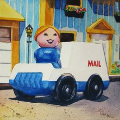 """""""Annie"""" 5"""" x 5"""" - watercolor on paper This painting was done for my dear friend, neighbor and mail-lady, Annie, upon her retirement from the USPS.   http://www.dailypaintworks.com/Artists/kara-k-bigda-394"""