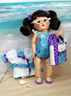"""Ginny's ~GoiN' To THe BeaCH!~ in Aqua and Purple! A 5 PC hand tailored ORIGINAL design outfit for Vintage or Vintage Reproduction Ginny 7.5"""" dolls. Also fits 7.5"""" Muffie, Ginger, Madame Alexander before the years 2000. You get the sun/swimsuit, the beachcoat/jacket/coverup, the fully lined matching beach bag, a terry beach towel in Ginny's size,  the white repro sunglasses. I created the flip flops to match  they are available separately for purchase. Both are at my ebay  also on my website."""