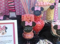 Candy jars at a Minnie Mouse Party #minniemouse #party
