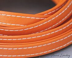 Orange leather strap 10x2mm, Orange flat leather cord, Leather string, Stitched leather strip 10mm 10 mm Leather string  ORFL10X2