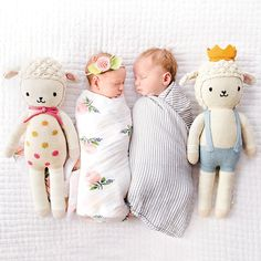 cuddle and kind hand-knit dolls gifts that give back doll fair-trade premium cotton yarn stylish baby high-quality safe soft cuddly lambs sebastian lucy polka dots bow crown twins twin gift newborn photography sibling gift baby shower gift toddler gift children's gift socially conscious gift children's toy children's doll matching gift