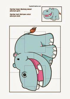 kerajinan/prakarya anak TK, buat sendiri puzzle/jigsaw gambar kuda nil