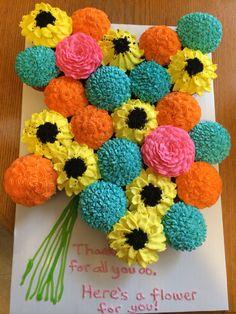 Teacher appreciation cupcake flower bouquet