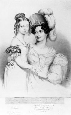 Queen Victoria and her mother Princess Victoria, Duchess of Kent and Strathearn, engraved by Richard James Lane, 1834 (engraving) by Sir George Hayter on Magnolia Box Royaland