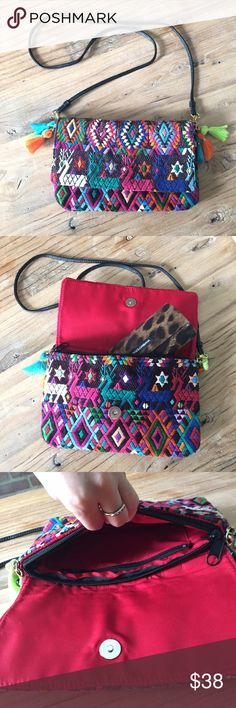 "Guatemalan huipil crossbody bag • repurposed Guatemalan  Huipil women's blouse • magnetic button flap closure and internal zipper closure, removable strap to become a clutch  • internal zipper pocket • red internal lining  • 9.5"" wide by 6"" tall Bear Co  Bags Crossbody Bags"