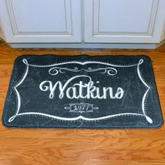 Monogram Chalkboard Floor Mat - Need this for my kitchen! Well, Alex's right now, later it'll be mine :)
