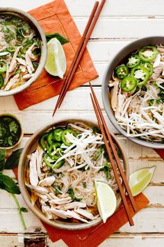 NYT Cooking: A play on the Vietnamese chicken noodle soup, this clear broth, paired with rice noodles and flavored with charred onions and ginger, star anise, brown sugar and fish sauce, comes served with a platter of fresh garnishes. But this is more than your basic noodle soup: A spritz of lime at the end adds some tang, and mung beans and Thai basil a crunchy bite.